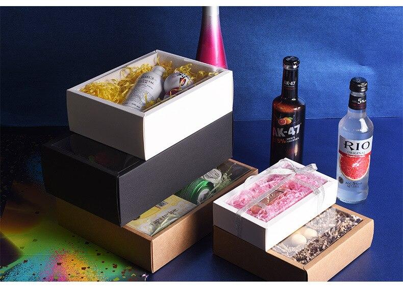 Caja de papel Kraft plegable, caja de embalaje con ventana de PVC...