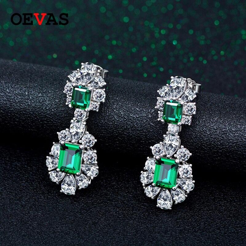 OEVAS-أقراط متدلية من الفضة الإسترليني عيار 100% مرصعة بالألماس الأخضر والكربون ، مجوهرات راقية لحفلات الخطوبة ، 925