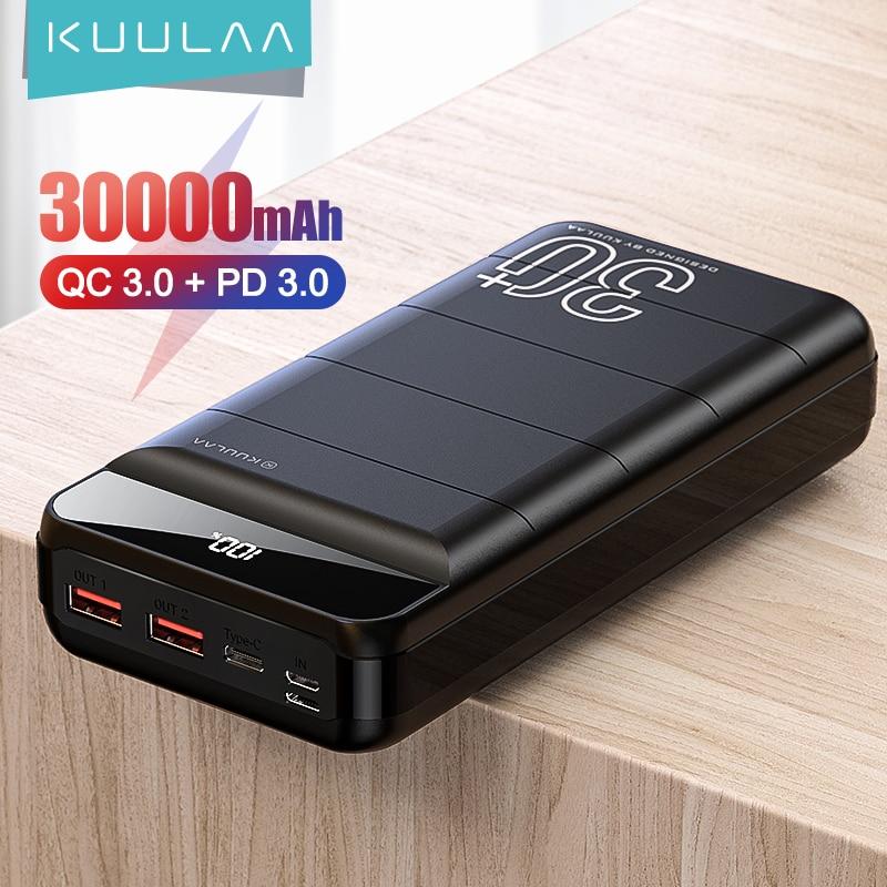 KUULAA قوة البنك 30000 mAh QC PD 3.0 PoverBank سريع شحن تجدد PowerBank 30000 mAh USB شاحن بطارية خارجية ل Xiaomi مي 10 9