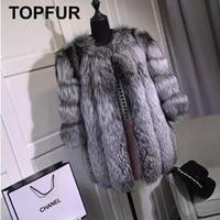 topfur solid fluffy silver fox fur coats new fashion women thick warm real fox fur winter jackets full pelt plus size