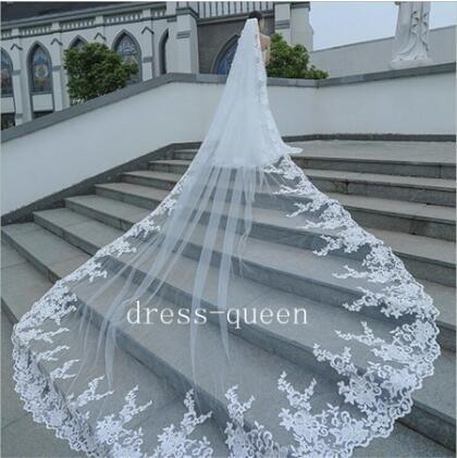 Laço branco longo nupcial viels catedral comprimento 3 m com pente véu de noivas para casamentos acessórios de casamento
