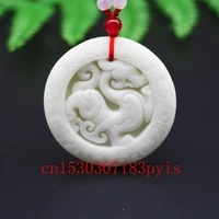 chinese natural white jade dragon pixiu pendant necklace hand carved charm jewelry fashion amulet for men women lucky gifts