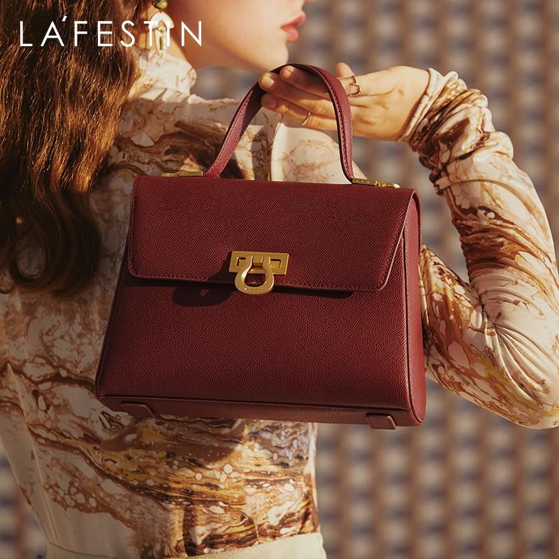 LAFESTIN Bag women 2020 new trendy one-shoulder messenger handbag large capacity retro commuter leather female bag