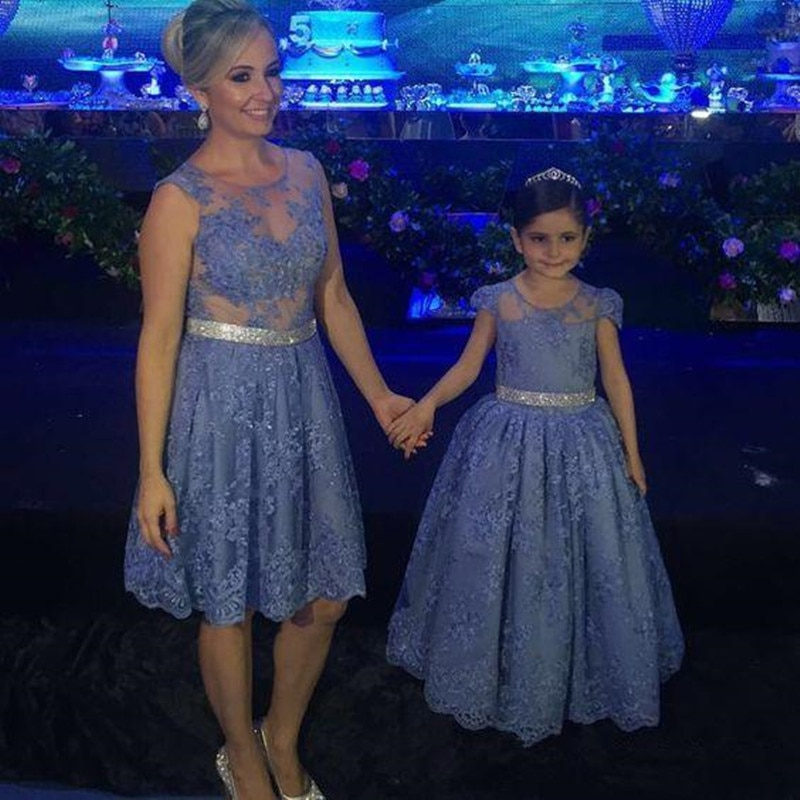 Blue Lace Mother and Daughter Dress for Special Occasion Long Girls Birthday Party Evening Gowns