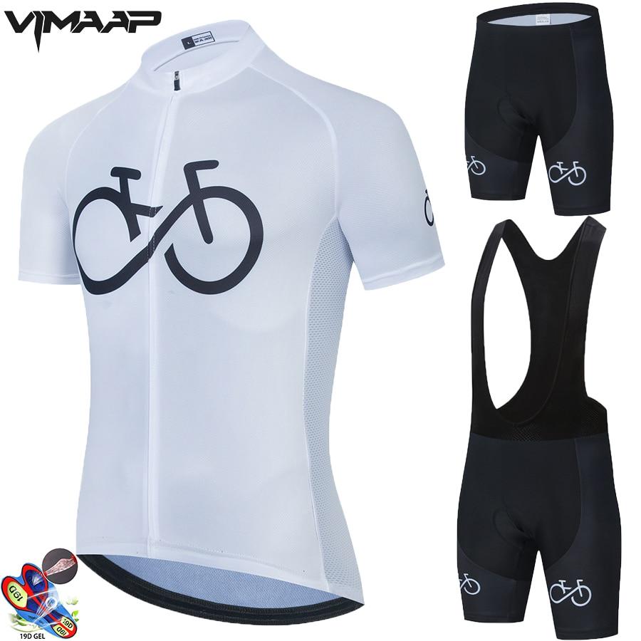 Equipe de Bicicleta Ropa dos Homens da Bicicleta Branca Ciclismo Roupas Camisa Verão Pro Jerseys 19d Gel Almofada Shorts 2021