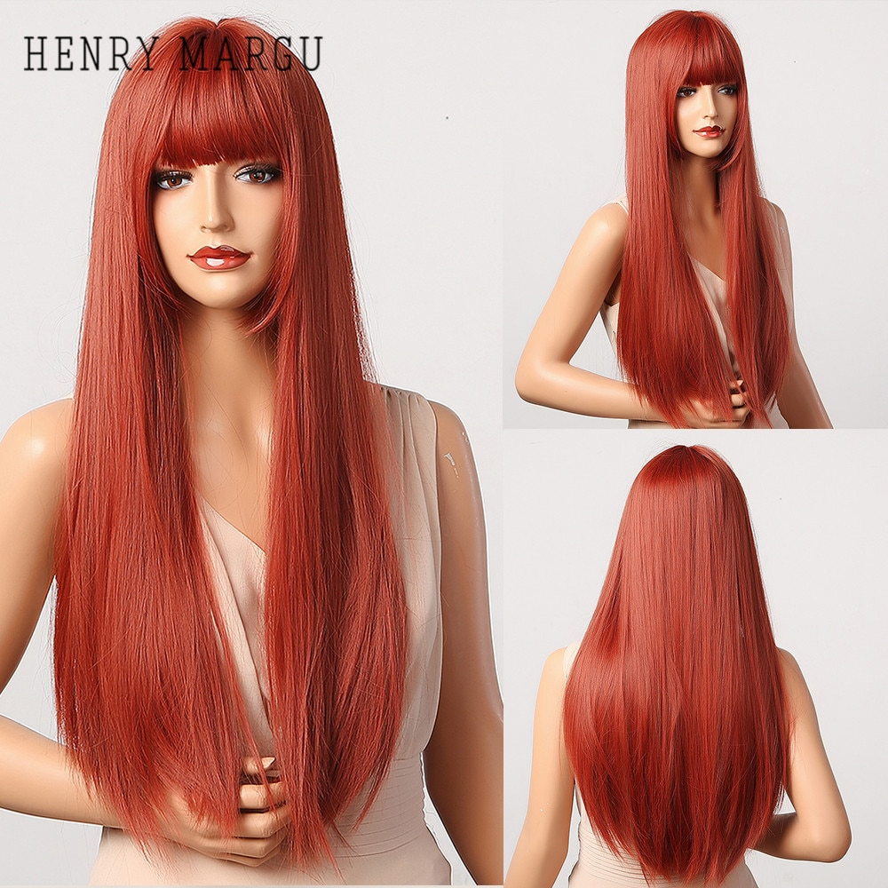 HENRY MARGU Long Straight Synthetic Wigs With Bangs Ombre Red Cosplay Party Wigs for Women Natural Hairstyle Wigs Heat Resistant