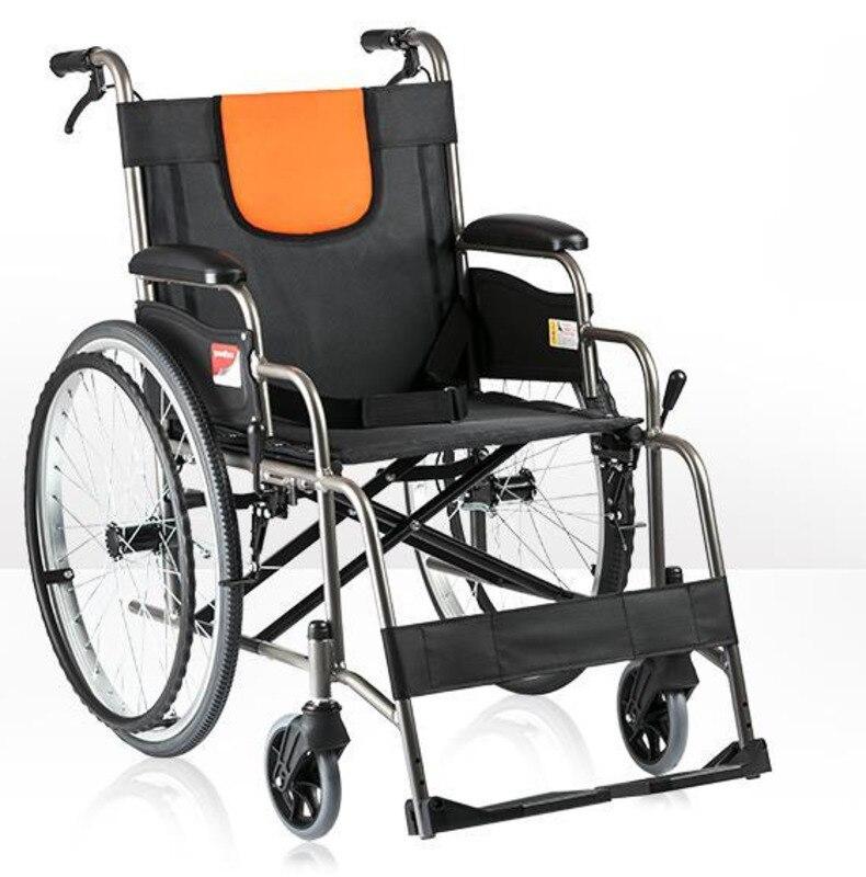 سميكة سبائك الألومنيوم كرسي متحرك لكبار السن المحمولة للطي عربة اليد المعوقين قوي آمن السكتة الدماغية إعادة التأهيل أداة