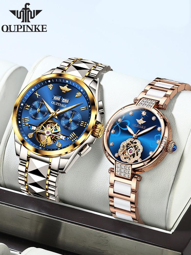 OUPINKE Fashion Lovers Watches Luxury Men Chronograph Mechanical Wristwatch Women Elegant Ceramic Automatic Watch Sapphire 3186