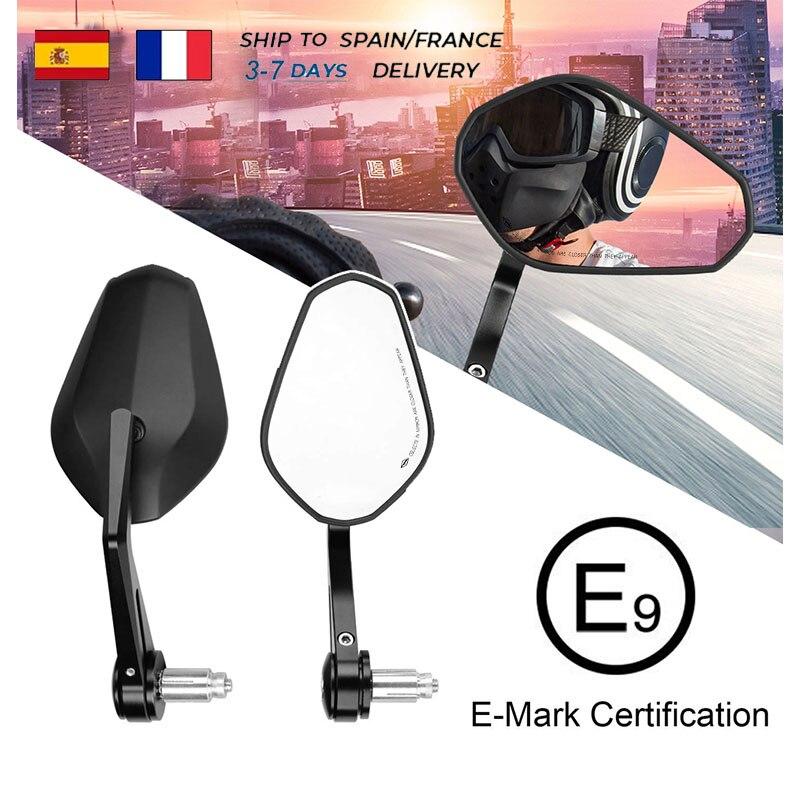 Торцевое зеркало заднего вида E-mark для мотоцикла Yamaha R3 MT07 MT09, BMW R1200GS F800GS, 7/8 г, 750 дюйма, 22 мм