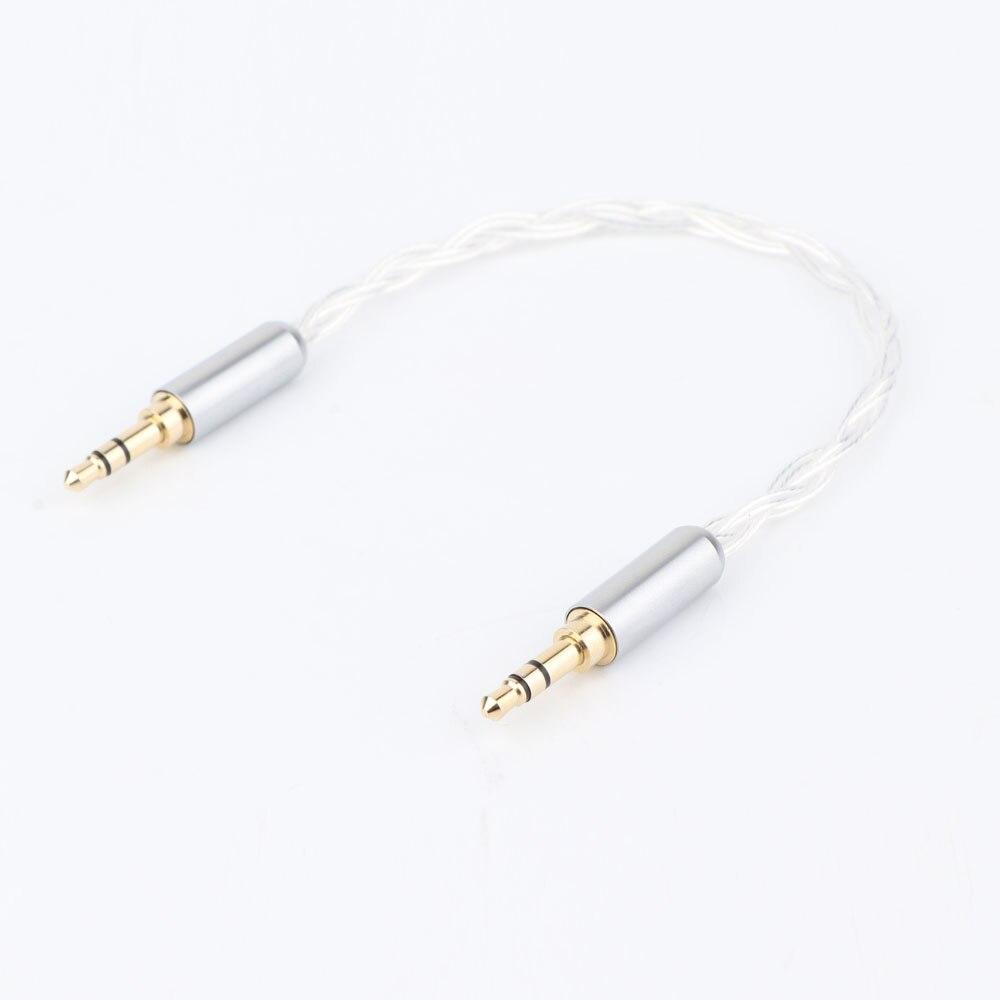 Pieza hi-end OCC plateado 3,5mm macho a 3,5mm macho estéreo Audio cable Hifi Audio cable coche AUX cable de salto