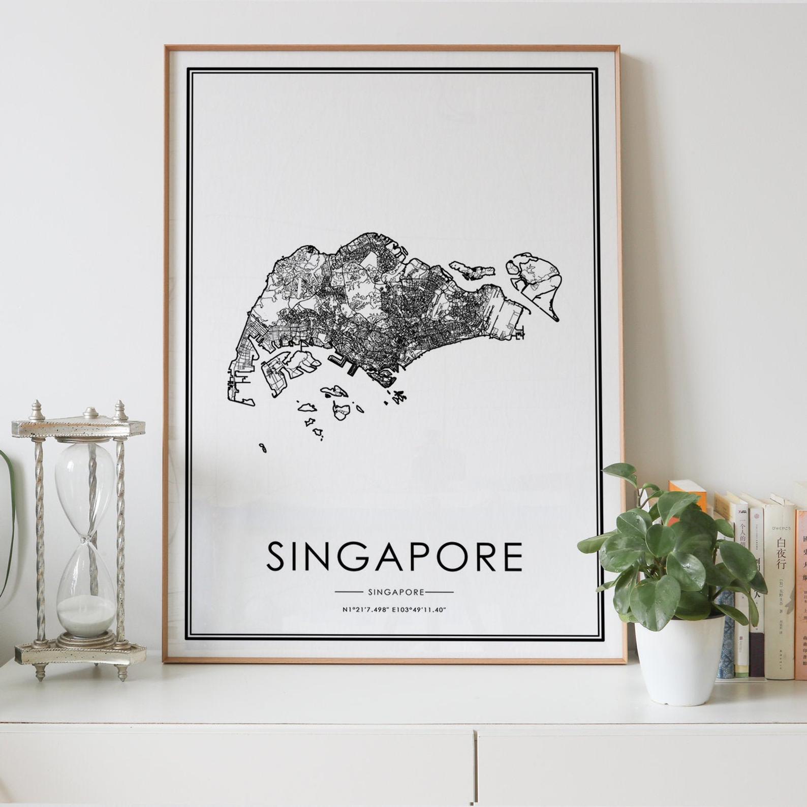 Singapura país mapa da estrada nordic sala de estar decoração lona cartaz moderno casa decoração da arte impressão pintura