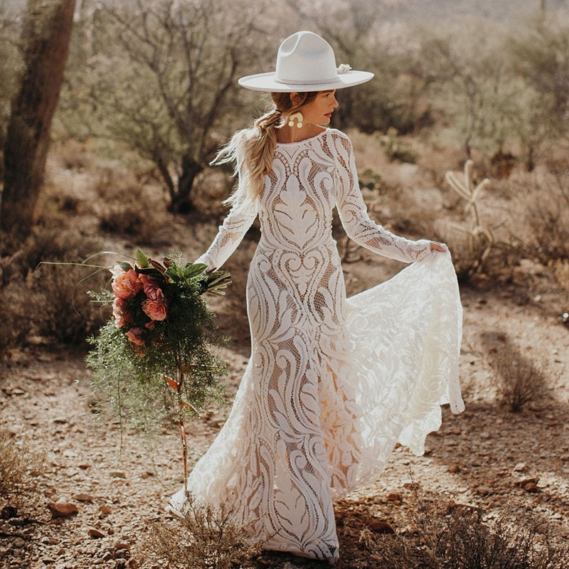 #4053 2021 New Elegant Lace Bateau Long Sleeves Boho Wedding Dress Backless Plus Size Rustic Bridal Photoshoot Gown Custom Made