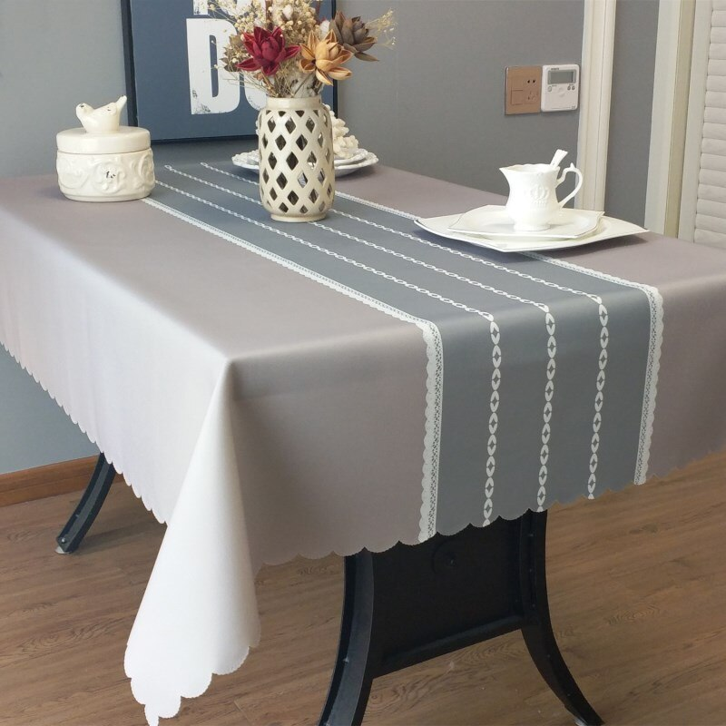 Mantel impermeable de poliéster de alta calidad a prueba de aceite para mesa de comedor moderno mantel rectangular sólido para boda fiesta casa