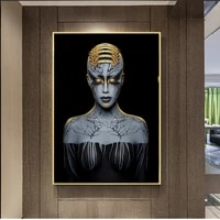 modern african art black and gold woman canvas painting girl headdress tattoo poster and prints art wall picture for living room