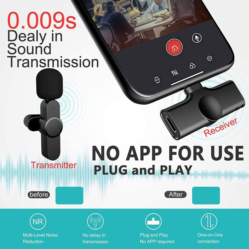 Wireless Lavalier Microphone Portable  Mini Mic for iPhone Android Phone Youtubers Facebook  Live Broadcast enlarge