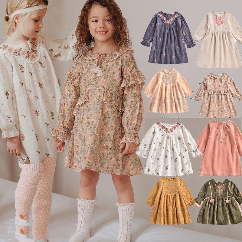 EnkeliBB-فستان بناتي عتيق مع توتو مطرز ، ملابس ذات علامة تجارية ، رومانسي فرنسي ، أكمام طويلة ، خريف وشتاء