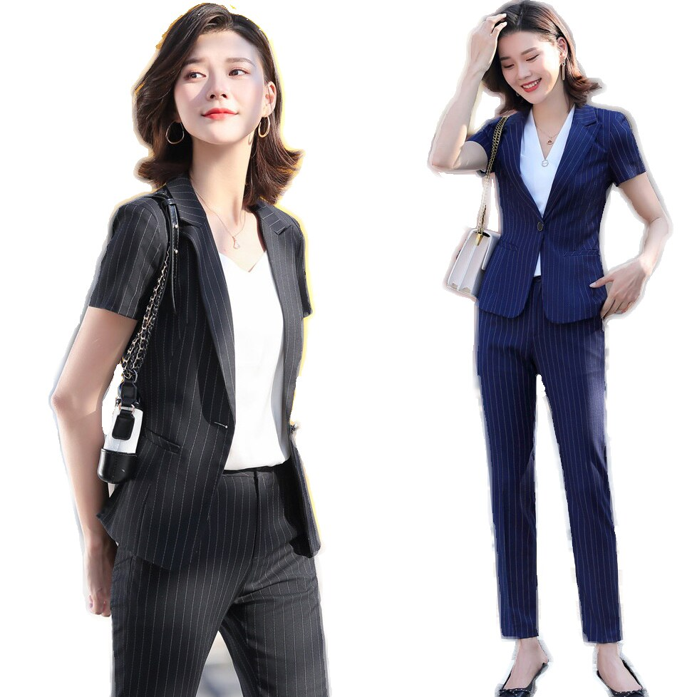New Summer Formal Office Ladies Black Blazer Women Business Suits with Pant and Jacket Sets Short Sleeve OL Pant Suits for Women