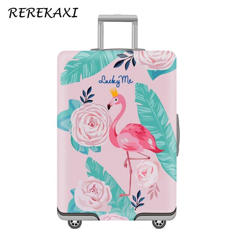 Capa de Proteção de Bagagem Capa de Poeira Acessórios de Viagem Flamingo Mala Engrossar Case Elástico Cobre 19-32 Polegada Bagagem Trole