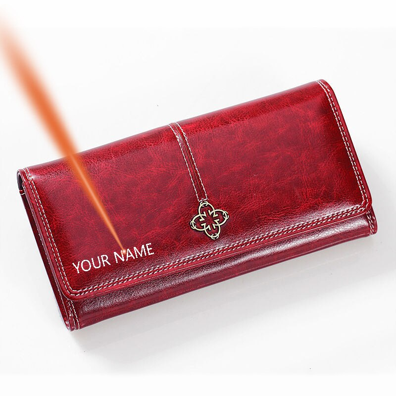 Dascusto New Women Wallet Custom Name Engraved Vintage Long Bank Card Holder Pu Leather Purse With C