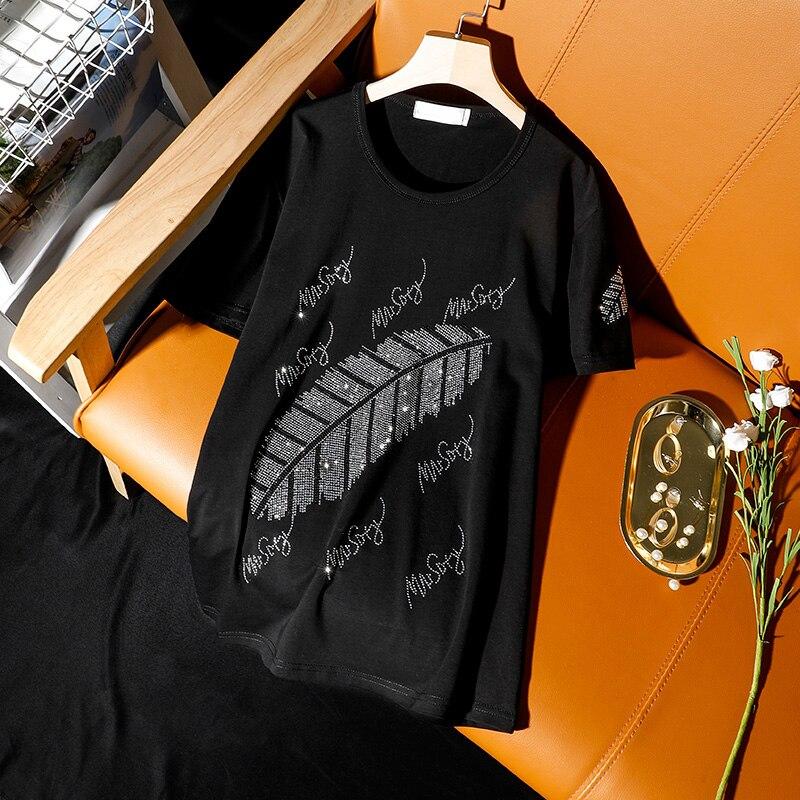 2020 Summer New Korean Plus Size Algodón Camiseta de manga corta Estilo de moda Mujeres Hojas Hot Black Diamond Loose Tops femeninos