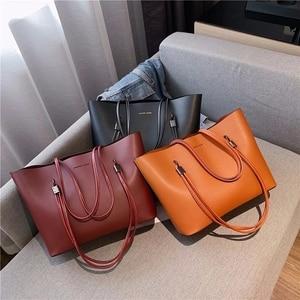 Women Bag Solid PU Leather Bag Women Deluxe Ladies Bag with Bag Pocket Crossbody Bag Tote Bag