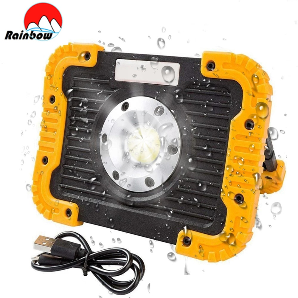 20w cob led spotlights powerful usb 18650 led work light rechargeable lampe led flashlight waterproof for outdoor camping lights 100W Portable Spotlight Led Work Ligh Tent Light Led Flashlight Use 18650 Rechargeable Floodlight for Outdoor Camping Lampe