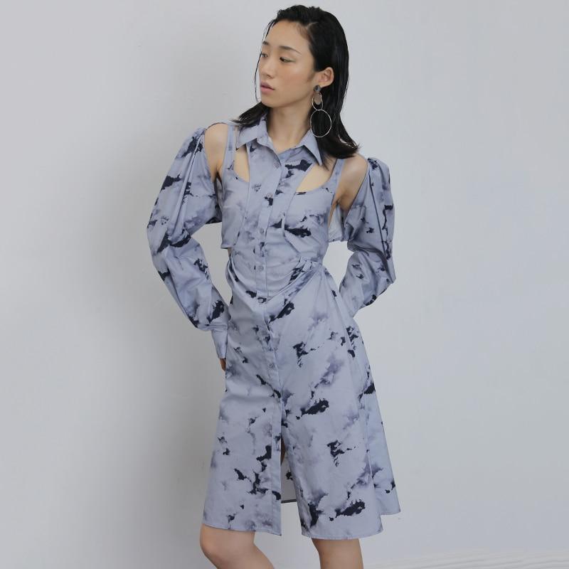 DEAT mujeres azul gris ahueca hacia fuera Split Shirt Dress solapa nueva manga larga suelta Fit moda marea Primavera Verano 2020 1U568