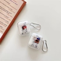 cute girl sunglass man case for airpods clear silicone shockproof case for air pods pro soft build block transparent cover bags