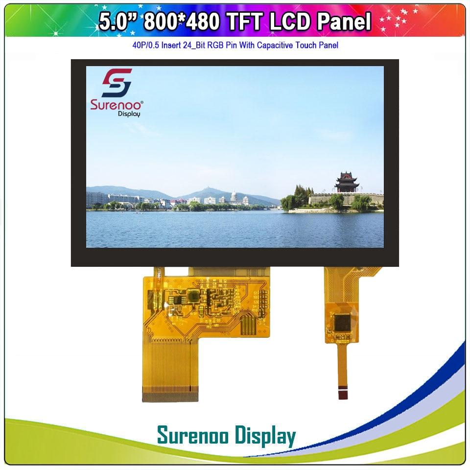 "5.0 ""800x480 40 p/24_bit rgb tft lcd módulo display monitor de tela com 4 fios resistive/iic i2c painel de toque capacitivo"
