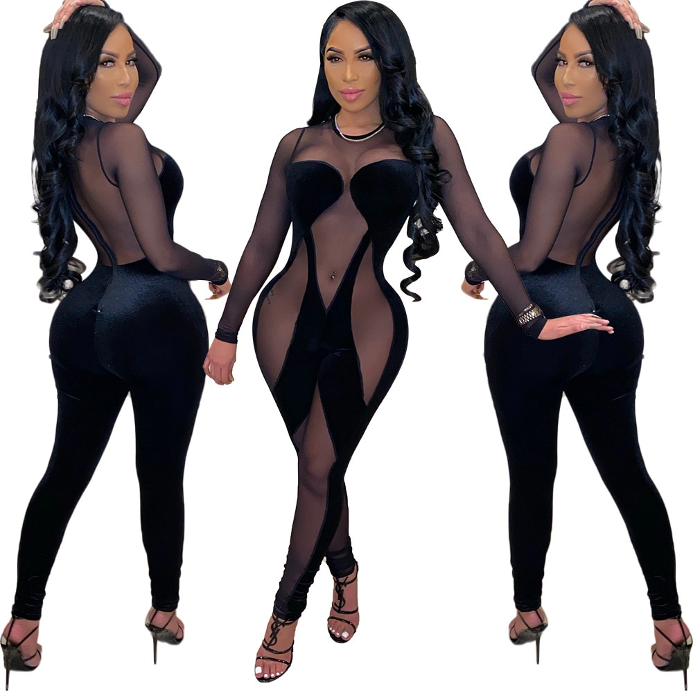 Adogirl Sexy Black Mesh Sheer Velvet Patchwork Bodycon Jumpsuit Woman Long Sleeve See Through Night Club One Piece Overalls