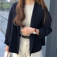 minimalist tweed short women jackets fall winter korean simple v neck loose cropped coats female casual solid overcoats 2020