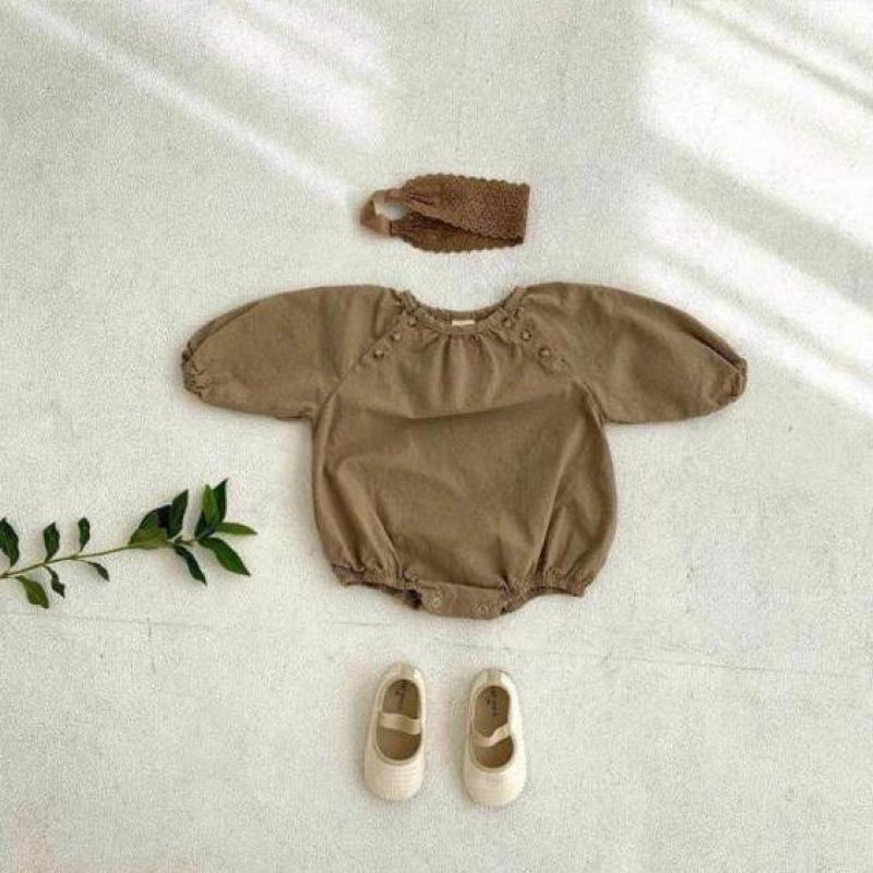 Autumn Baby Solid Bodysuit 2021 New Boys And Girls Long Sleeve Jumpsuit Cotton Linen Baby Clothes In