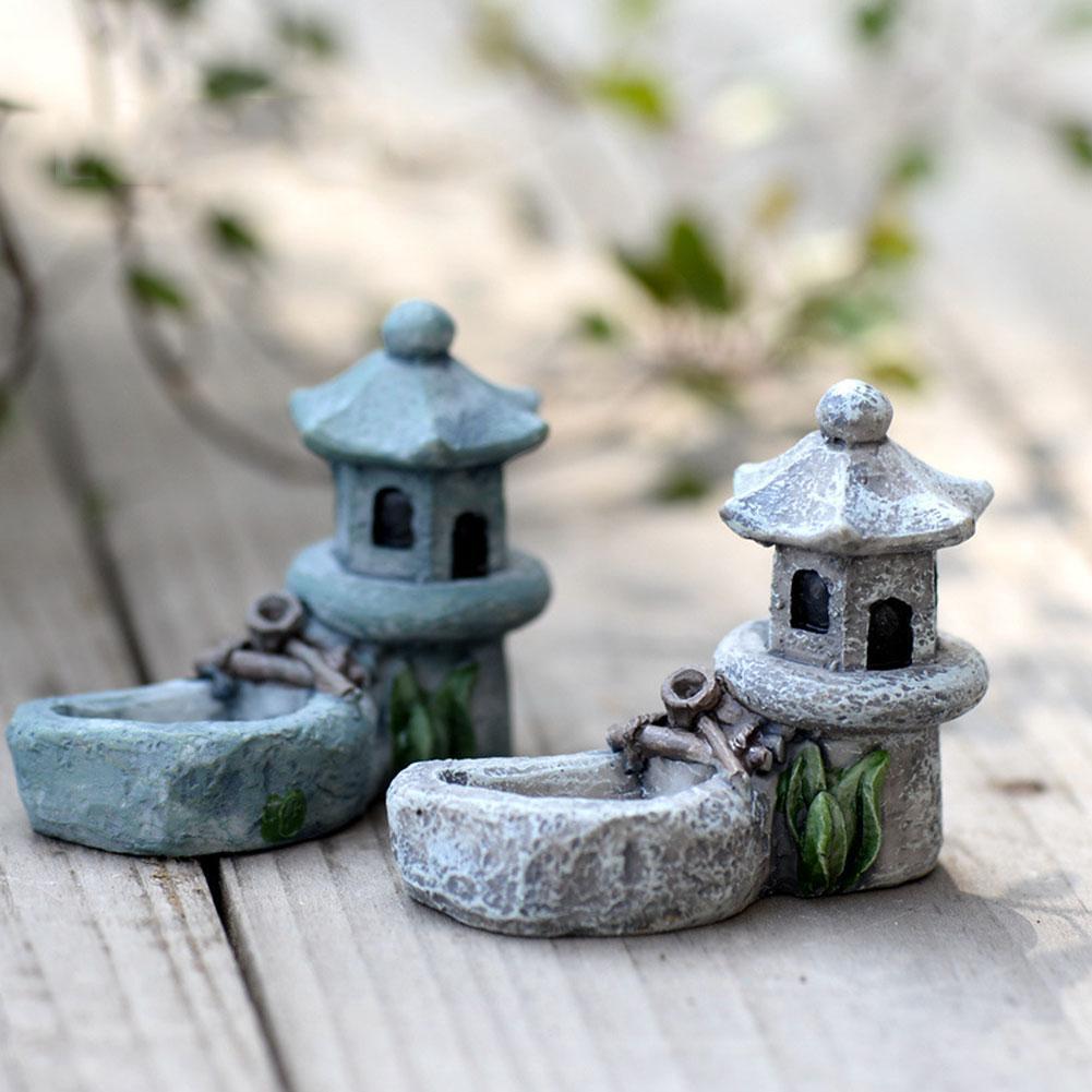 1Pcs Pond Figurines Decoration Tower Relaxation Zen Craft Pet Ornaments Garden Decor Miniature Garden Tea Supplies Home Res L5X7