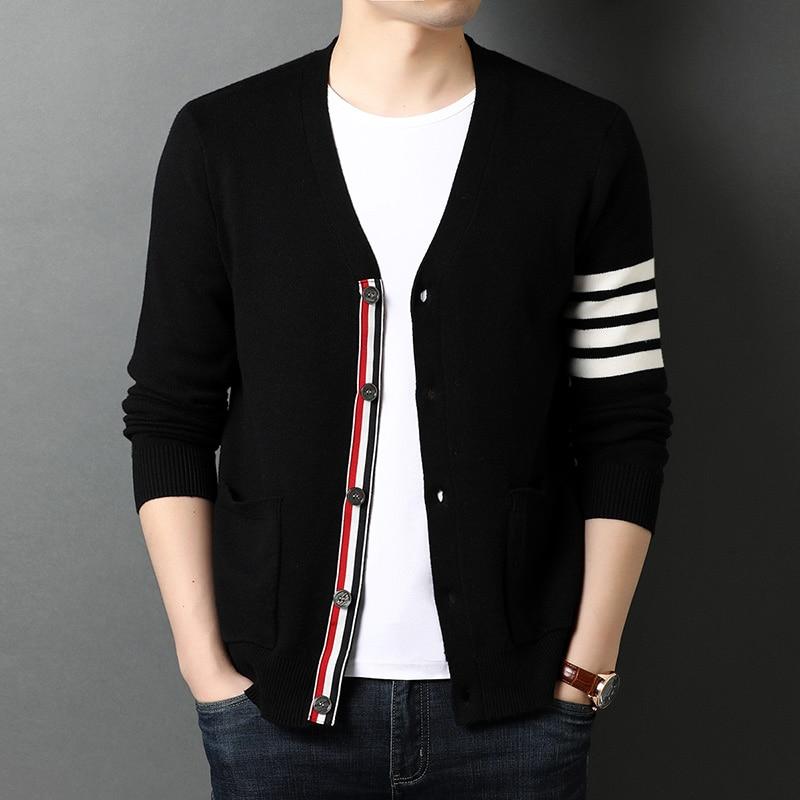 2021 высокое качество, новинка, Осень-зима, брендовые модные вязаные женские черные корейские повседневные куртки, пальто, мужская одежда