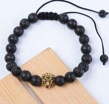8mm f22 or breloque ajustée cuivre lion nature pierre noire volcanique lave Bracelet bouddha Yoga huiles essentielles diffuseur
