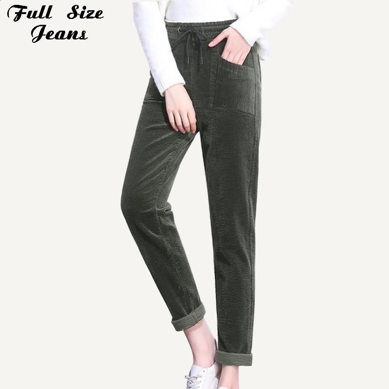 Pantalones bombachos holgados de pana verde oscuro con bolsillo de cintura elástica de dibujo de talla grande 3XL 4XL pantalones de Otoño de zanahoria para mujer