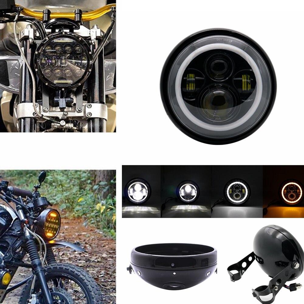 Czarny/Chrome 7 cal doprowadziły reflektorów kąt oczy dla Yamaha Honda Suzuki motocykl reflektor obudowa łyżki 7 cal stałe uchwyt