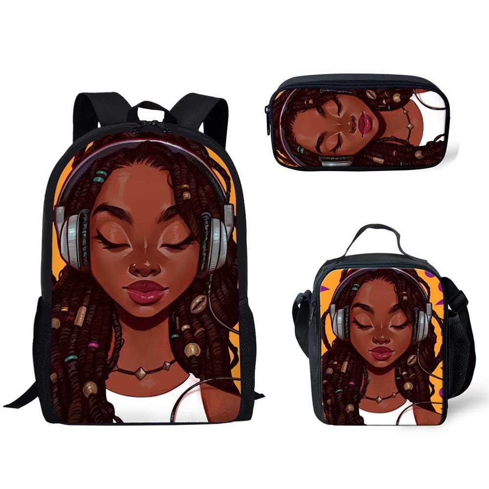 3pcs/set School Bag for Kids Black Art African Girl Print School Backpack Children Shoulder Book Bag Student Satchel