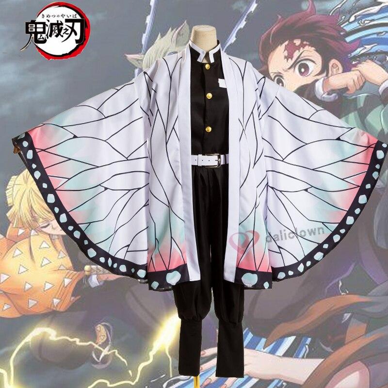 Anime cosplay demônio slayer kimetsu não yaiba kochou shinobu traje de halloween traje feminino kimetsu não yaiba cosplay
