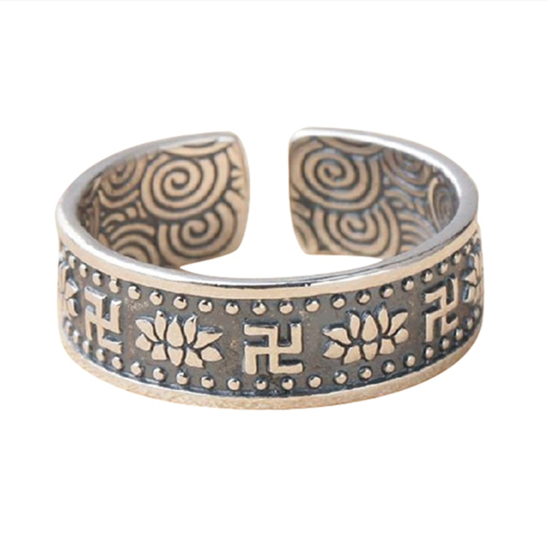 925 Pure Silver Hand-carved Lotus Pattern Retro Personality Trend Ring Thai Pure Silver Jewelry Couple Ring Jewelry Weight 4.6G  - buy with discount