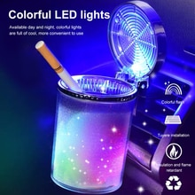 2021 Car Ashtray With Led Light Cigarette Cigar Ashtray Container Ashtray Gas Bottle Smoke Cup Holde