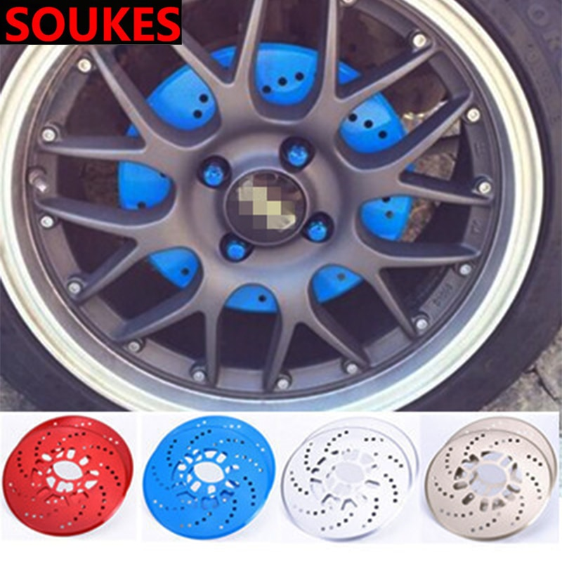 2 uds emblema de coche neumático cubo de la rueda cubierta de freno para Mitsubishi Lancer 10 ASX Pajero X Ford Focus 2 3 Fiesta Citroen C4 C5 C3