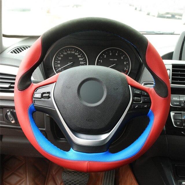 OLPAY negro gamuza rojo azul cuero volante cubierta para BMW F20 2012-2018 F45 2014-2018 F30 F31 F34 suave cómodo duradero