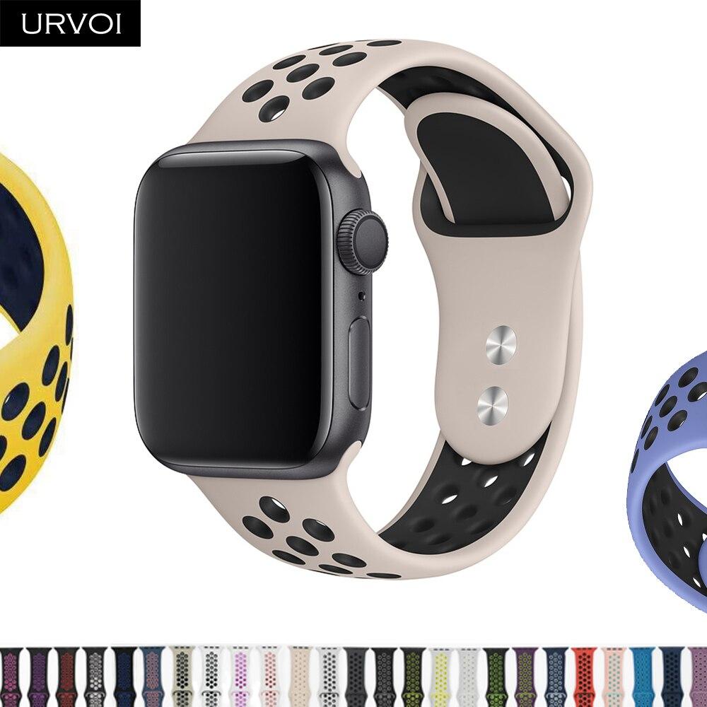 Ремешок URVOI для apple watch series 5 4 3 2 спортивный ремешок для iwatch силиконовый ремешок сменный дышащий новый цвет 38/40/42/44 мм