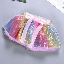 Costume princesse nœud papillon pour fête danniversaire   Paillettes arc-en-ciel, couches plissées en Tulle, jupe Tutu de Ballet 0-8T