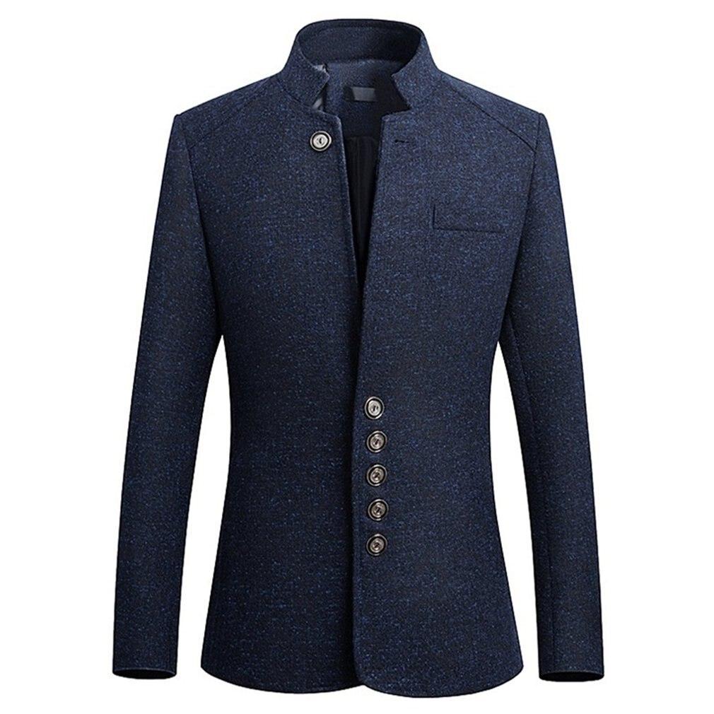 Chaqueta de estilo coreano elegante informal elegante para hombre con cuello mandarín a la moda de otoño e invierno