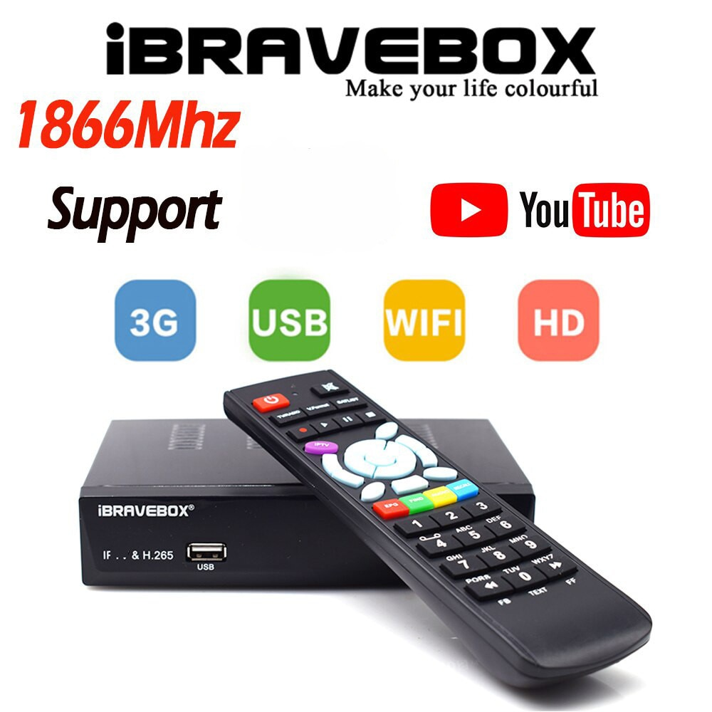 DVBS2 استقبال الأقمار الصناعية iBRAVEBOX F10S زائد HEVC H.265 USB واي فاي مستقبلات التلفزيون دعم CS-خط Powrvu Biss استقبال الأقمار الصناعية