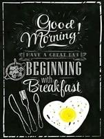 good morning breakfast retro metal sign vintage man cave kitchen 8x12
