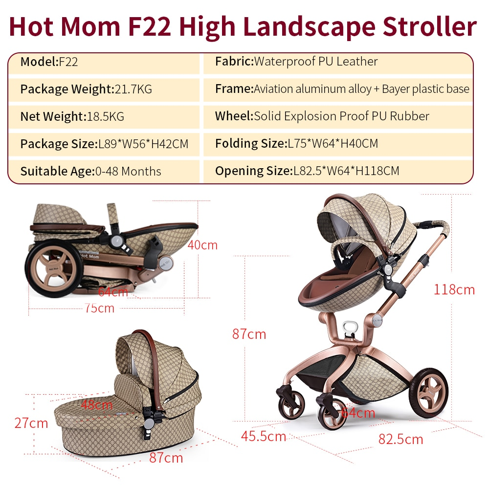 Hot Mom Baby Stroller 3 IN 1, Popular High Landscape Strollers 2021 ,Newborn Stroller With Bassinet Baby Carriage Travel System enlarge