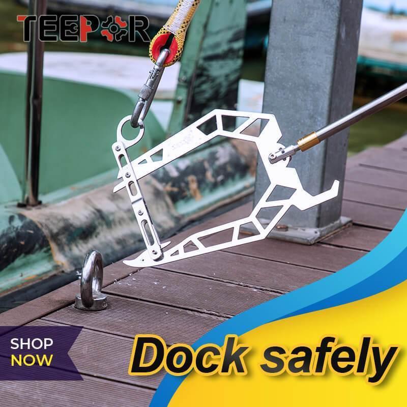 Teepor® Mooring Rope U Type Threader Multi-Purpose Dock Hook  Boat Telescopic Fishing Rod Fishing Pole Reel Fishing Accessories